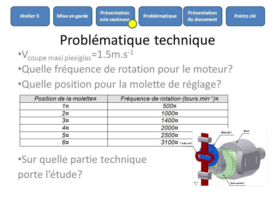 Problématique technique V coupe maxi plexiglas =1.5m.s -1 Quelle fréquence de rotation pour le moteur? Quelle position pour la molette de réglage? Sur