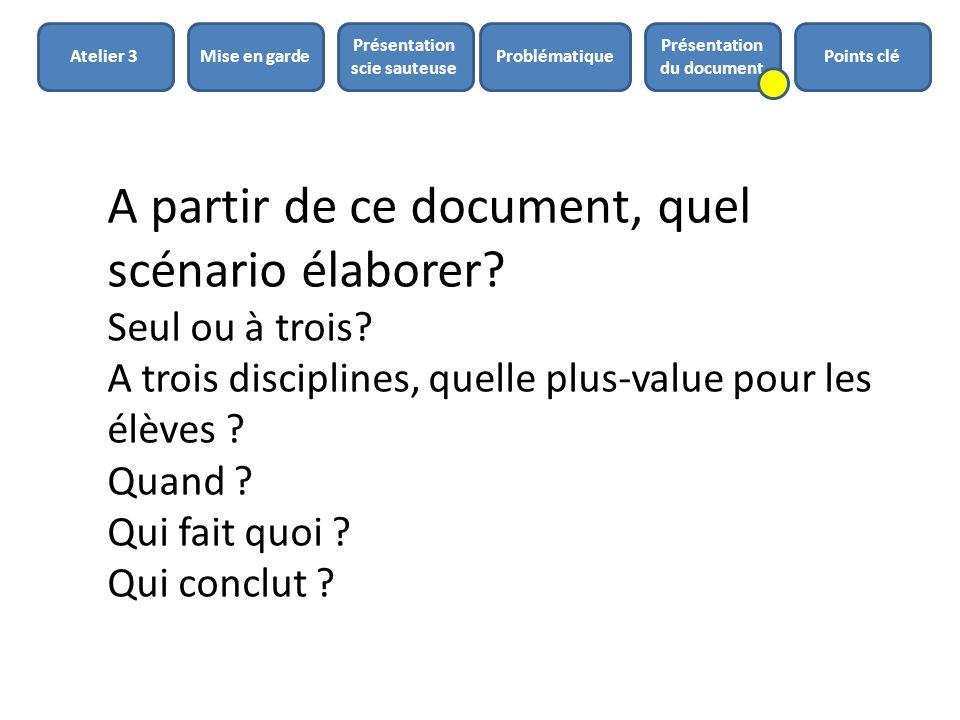 A partir de ce document, quel scénario élaborer? Seul ou à trois? A trois disciplines, quelle plus-value pour les élèves ? Quand ? Qui fait quoi ? Qui