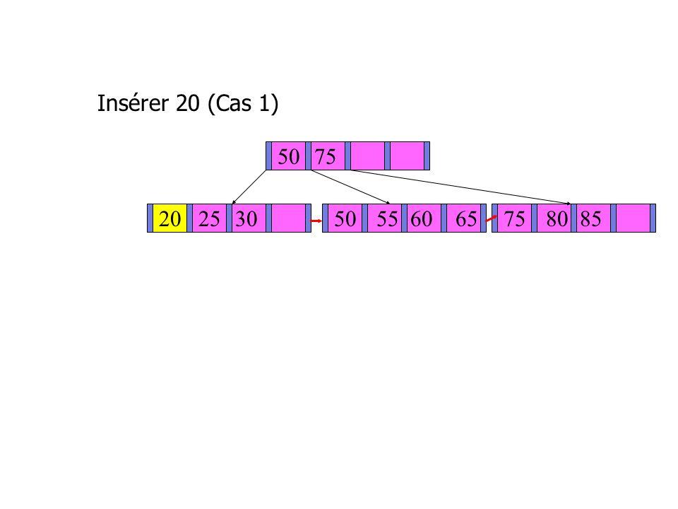 Insérer 20 (Cas 1) 5075 202530 50 5560 6575 8085