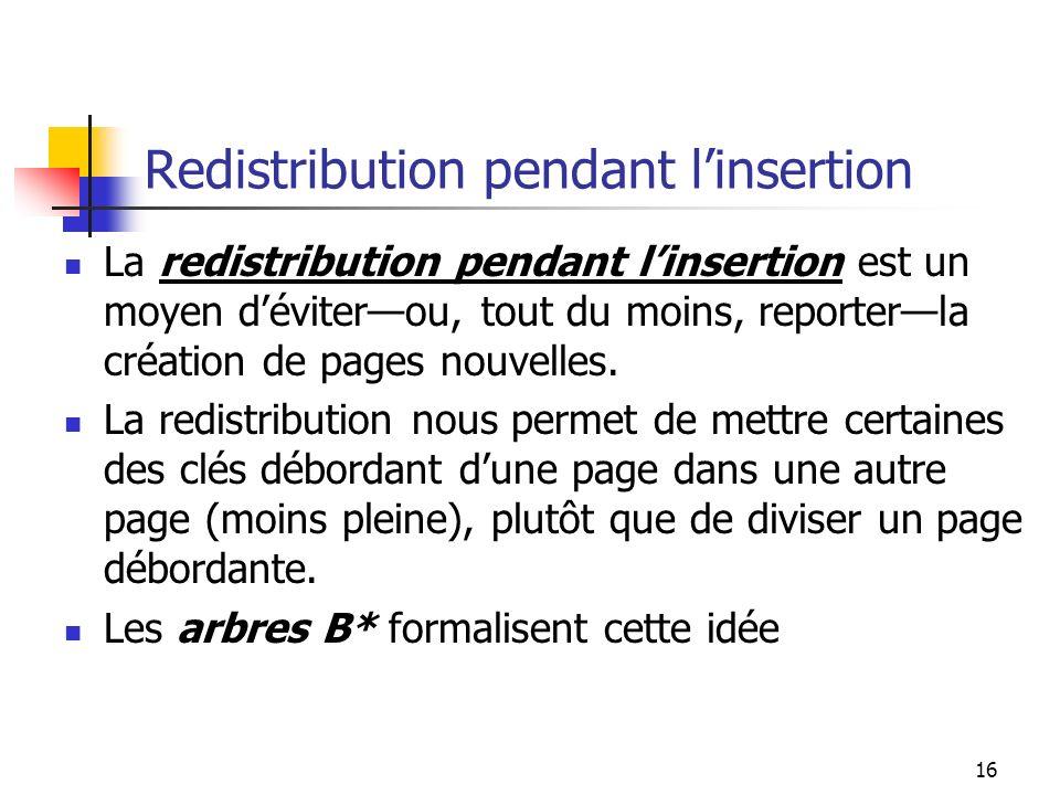 17 Arbres B*: propriétés Les propriétés dun arbre B* sont les suivantes: Chaque page a un maximum de m descendants.