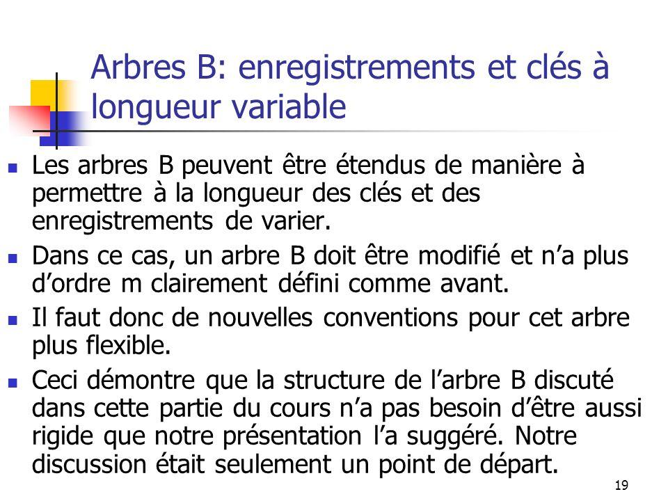 19 Arbres B: enregistrements et clés à longueur variable Les arbres B peuvent être étendus de manière à permettre à la longueur des clés et des enregi