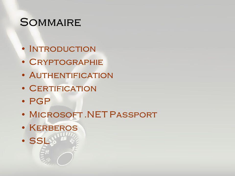 Authentification & Application Introduction Apparition des systèmes distribués Réseaux à grande échelle préserver la confidentialité des données préserver l intégrité des données authentifier le correspondant Assurer la non-répudiation