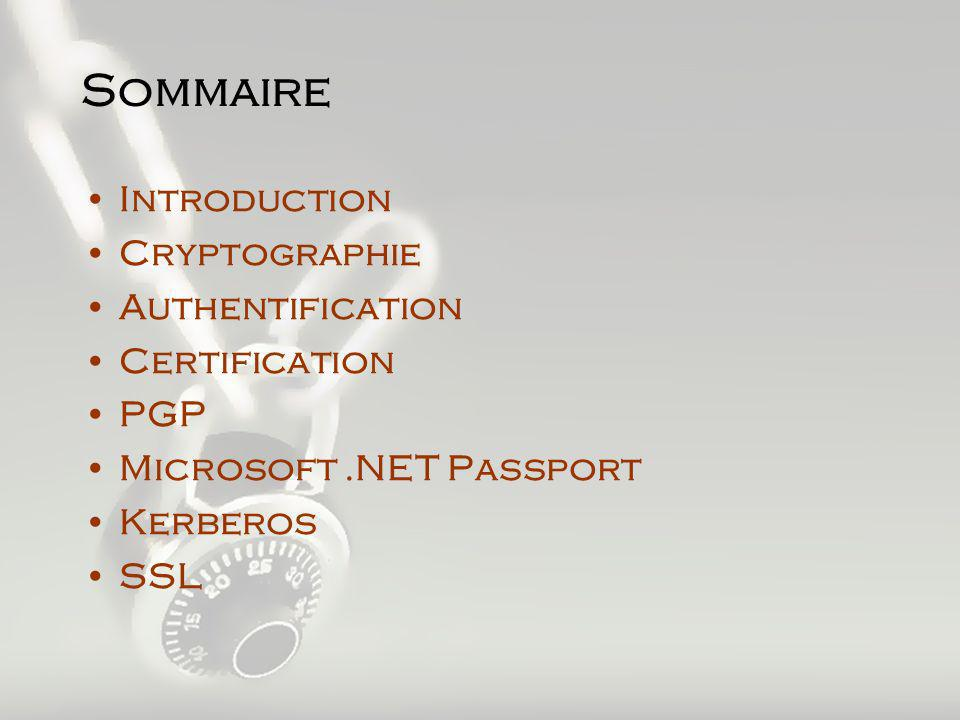 Sommaire Introduction Cryptographie Authentification Certification PGP Microsoft.NET Passport Kerberos SSL