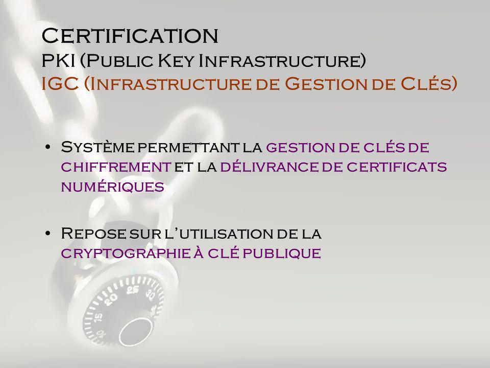 C ertification PKI (Public Key Infrastructure) IGC (Infrastructure de Gestion de Clés) Système permettant la gestion de clés de chiffrement et la délivrance de certificats numériques Repose sur lutilisation de la cryptographie à clé publique