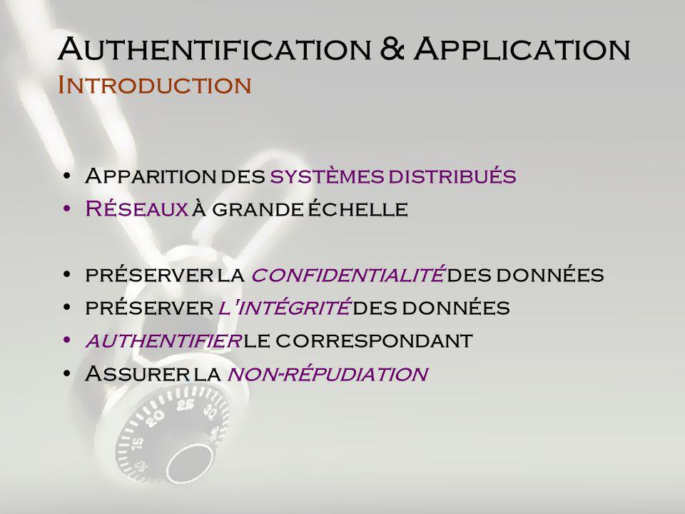SSL (Secure Sockets Layer) Définition –« Couche de Sockets Sécurisée » –Protocole déchange de données au dessus de TCP/IP qui assure: Confidentialité des échanges entre 2 applications Authentification des serveurs –Indépendant du protocole Utilisé (HTTP, FTP, …)