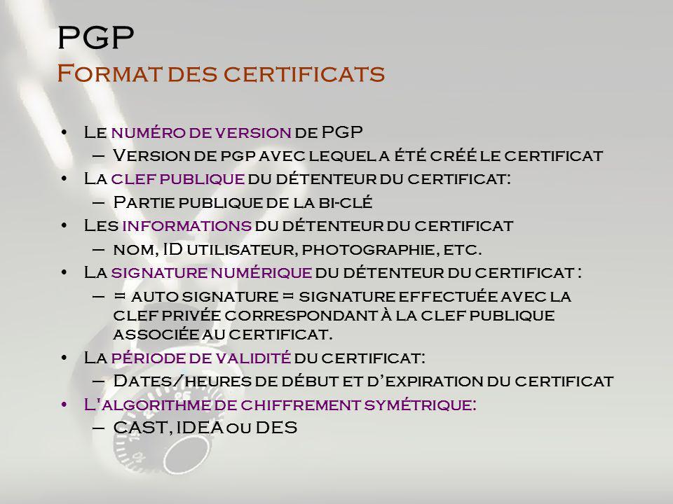 Le numéro de version de PGP –Version de pgp avec lequel a été créé le certificat La clef publique du détenteur du certificat: –Partie publique de la bi-clé Les informations du détenteur du certificat –nom, ID utilisateur, photographie, etc.