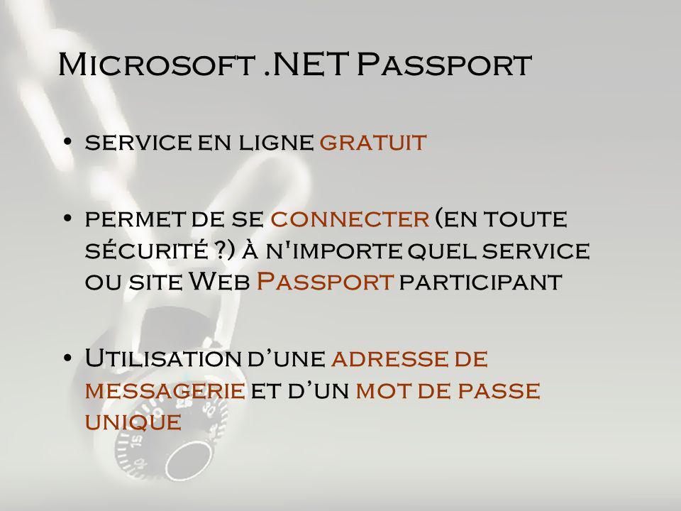 Microsoft.NET Passport service en ligne gratuit permet de se connecter (en toute sécurité ?) à n importe quel service ou site Web Passport participant Utilisation dune adresse de messagerie et dun mot de passe unique