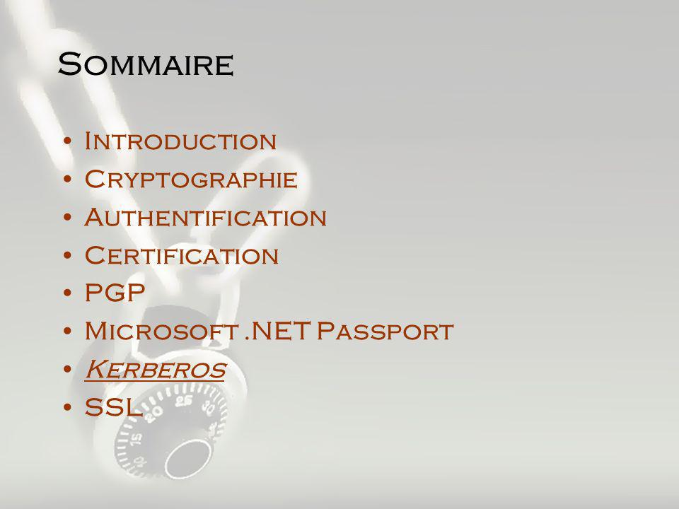 Sommaire Introduction Cryptographie Authentification Certification PGP Microsoft.NET Passport Kerberos SSL