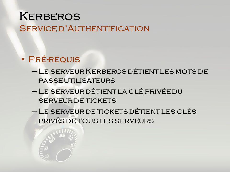 Kerberos Service dAuthentification Pré-requis –Le serveur Kerberos détient les mots de passe utilisateurs –Le serveur détient la clé privée du serveur de tickets –Le serveur de tickets détient les clés privés de tous les serveurs