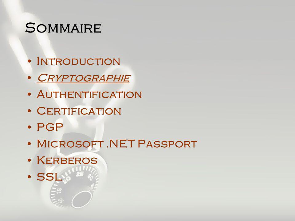 SSL (Secure Sockets Layer) Principe –Utilise RSA (clé publique) pour séchanger des clés DES (clé Secrète) Protocole de négociation (choix clés) Protocole déchange (chiffré par DES) –Authentifie un navigateur, pas une personne Compatibilité –Presque Tous les Navigateurs –Affichage du cadenas en bas pour les sites Sécurisés –Un serveur sécurisé possède une URL commencant par https://