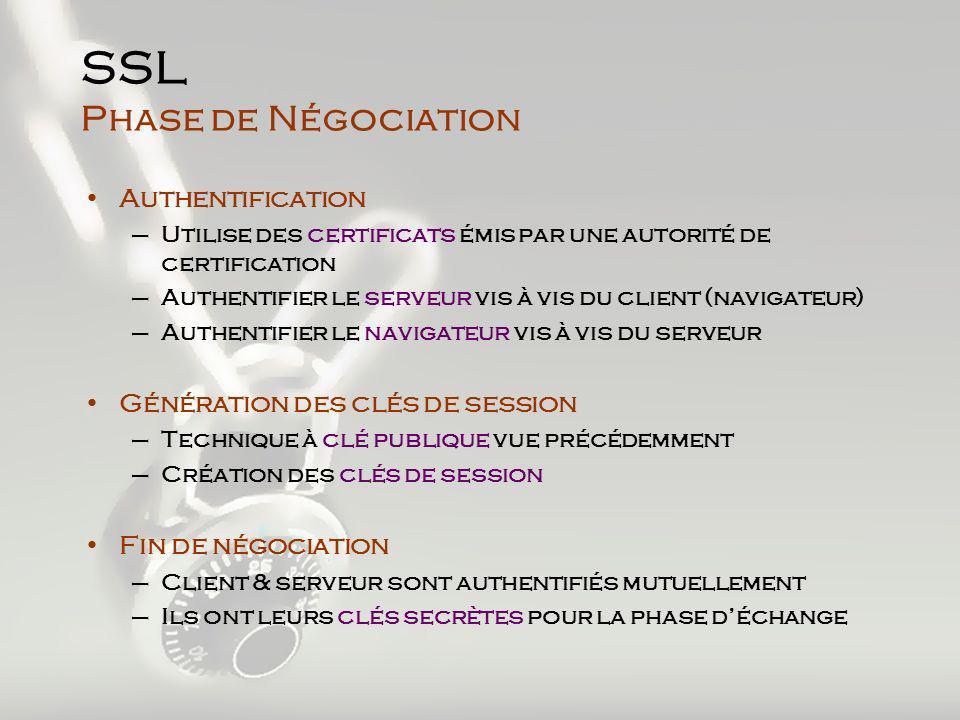 SSL Phase de Négociation Authentification –Utilise des certificats émis par une autorité de certification –Authentifier le serveur vis à vis du client (navigateur) –Authentifier le navigateur vis à vis du serveur Génération des clés de session –Technique à clé publique vue précédemment –Création des clés de session Fin de négociation –Client & serveur sont authentifiés mutuellement –Ils ont leurs clés secrètes pour la phase déchange