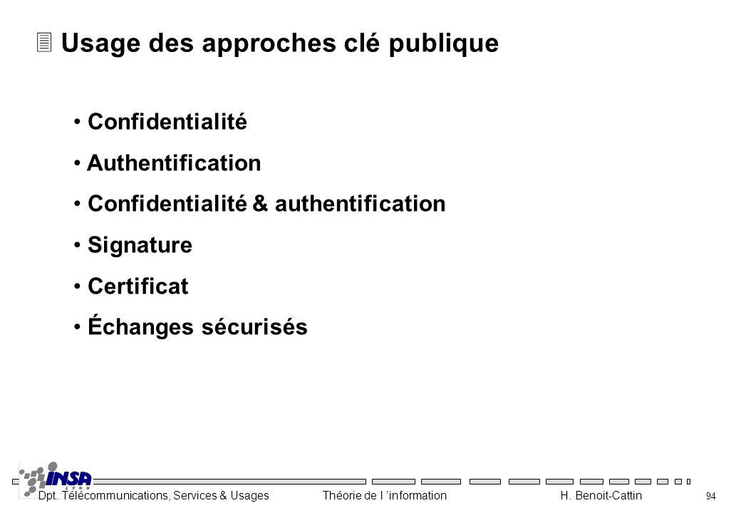 Dpt. Télécommunications, Services & Usages Théorie de l information H. Benoit-Cattin 94 3 Usage des approches clé publique Confidentialité Authentific
