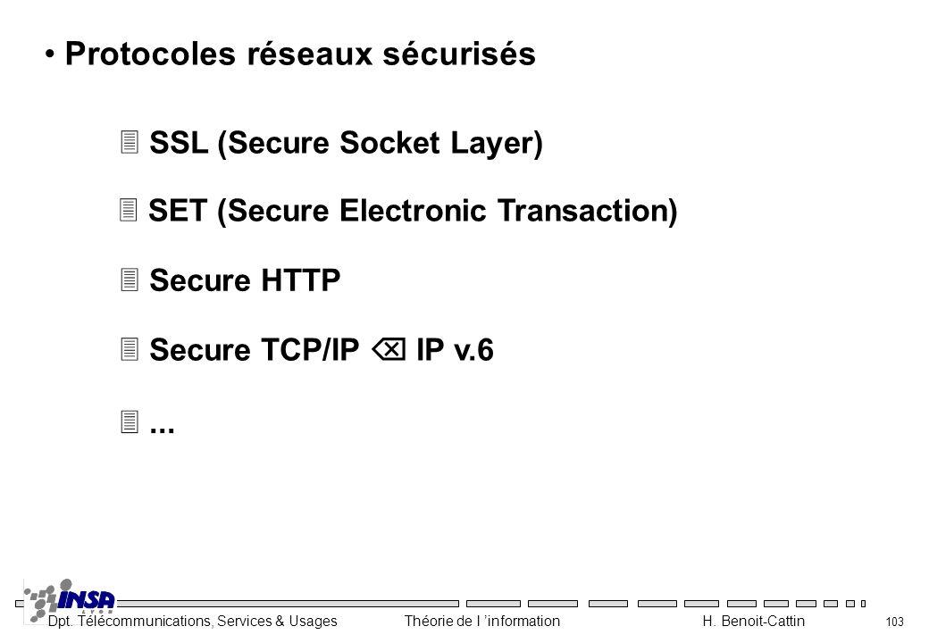 Dpt. Télécommunications, Services & Usages Théorie de l information H. Benoit-Cattin 103 Protocoles réseaux sécurisés 3 SSL (Secure Socket Layer) 3 Se
