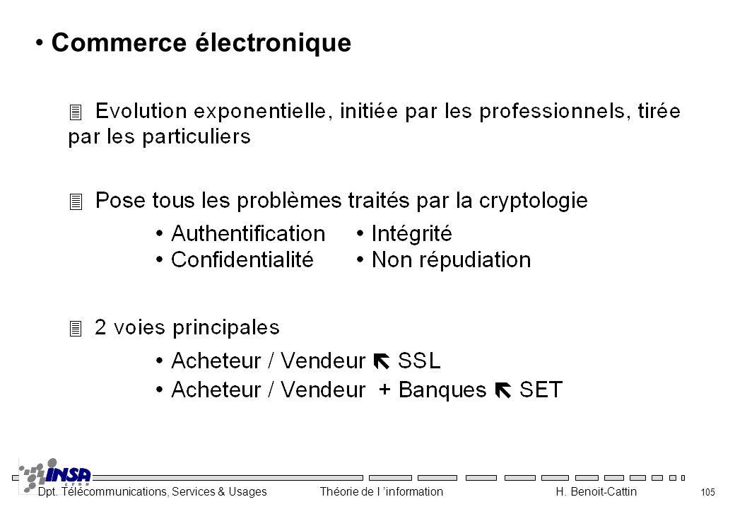 Dpt. Télécommunications, Services & Usages Théorie de l information H. Benoit-Cattin 105 Commerce électronique
