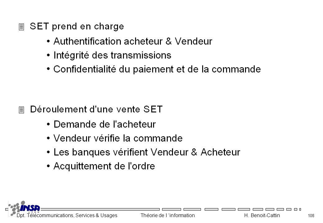 Dpt. Télécommunications, Services & Usages Théorie de l information H. Benoit-Cattin 108