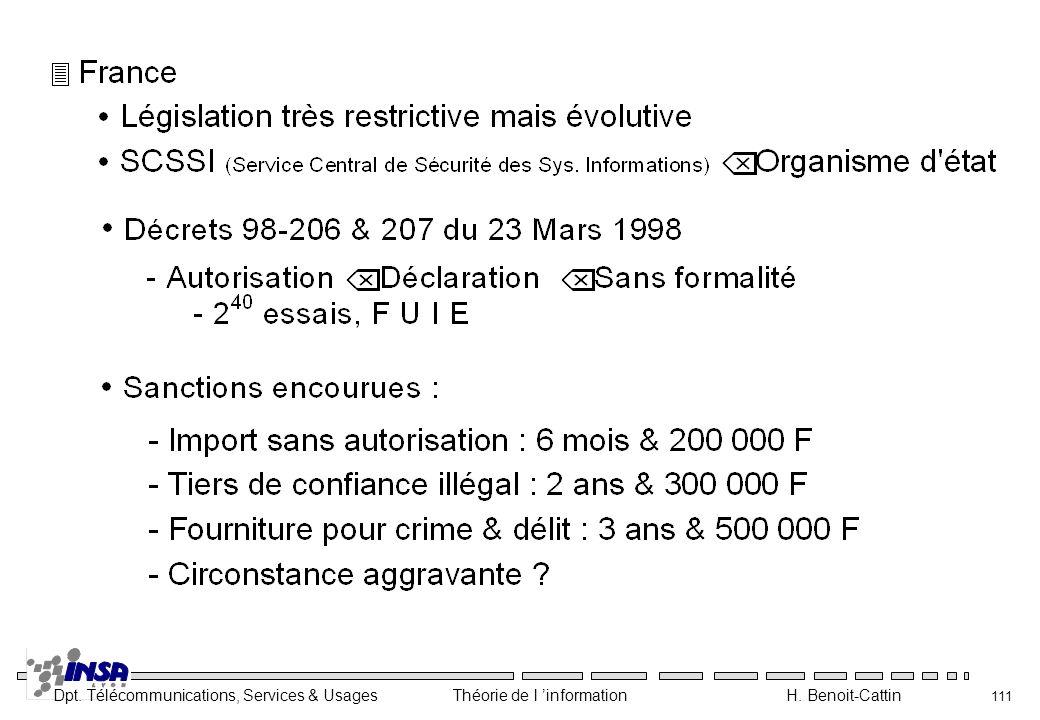 Dpt. Télécommunications, Services & Usages Théorie de l information H. Benoit-Cattin 111
