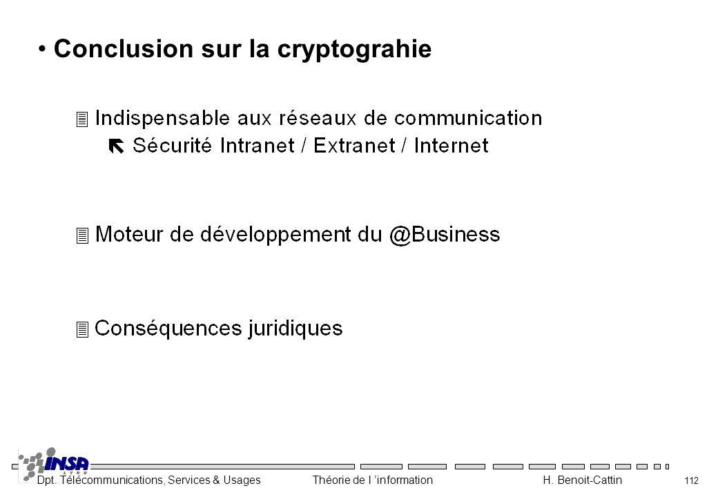 Dpt. Télécommunications, Services & Usages Théorie de l information H. Benoit-Cattin 112 Conclusion sur la cryptograhie