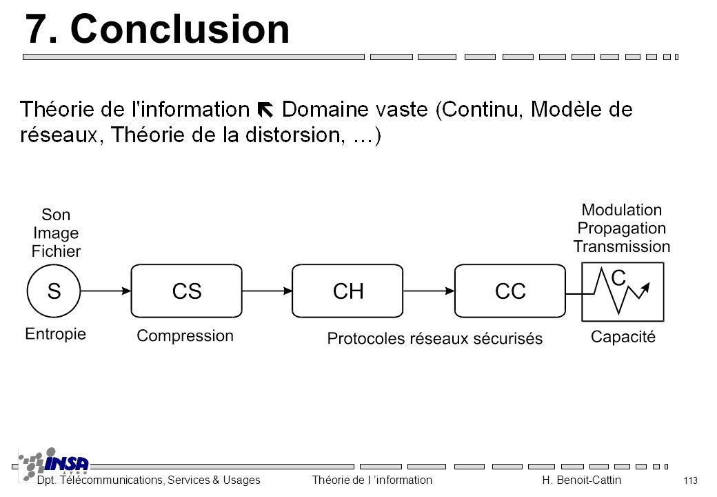 Dpt. Télécommunications, Services & Usages Théorie de l information H. Benoit-Cattin 113 7. Conclusion