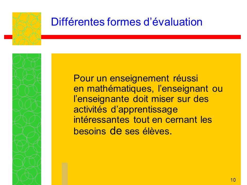 10 Différentes formes dévaluation Pour un enseignement réussi en mathématiques, lenseignant ou lenseignante doit miser sur des activités dapprentissag