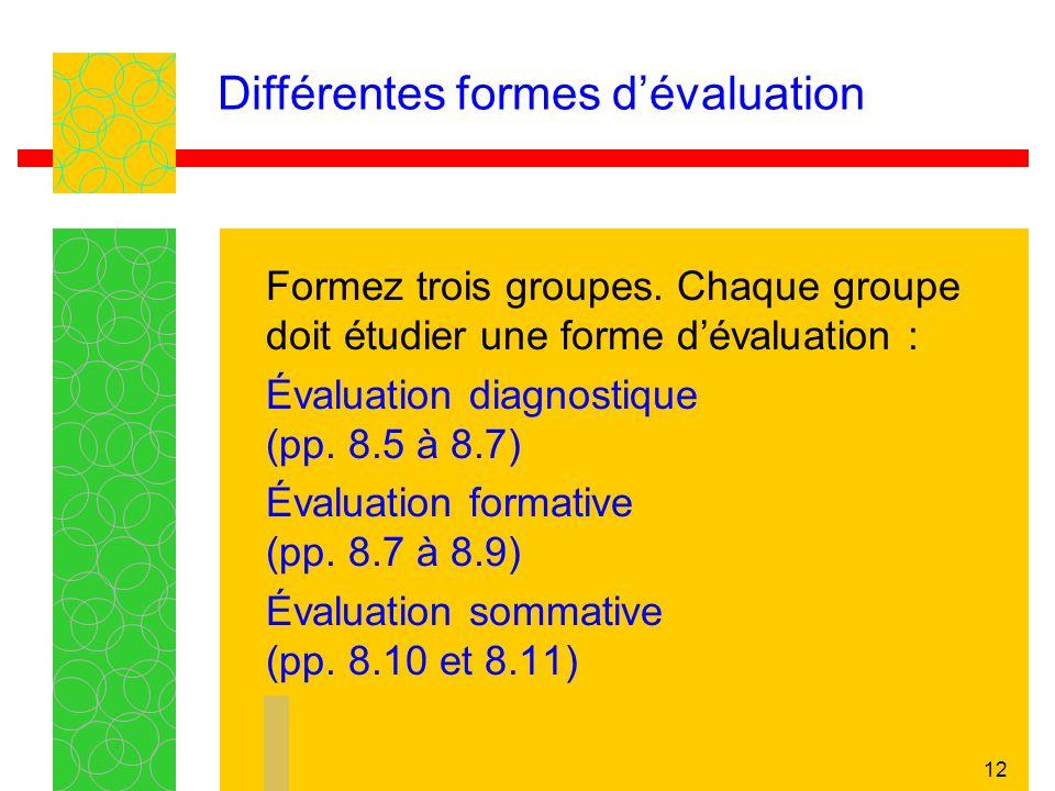 12 Formez trois groupes. Chaque groupe doit étudier une forme dévaluation : Évaluation diagnostique (pp. 8.5 à 8.7) Évaluation formative (pp. 8.7 à 8.
