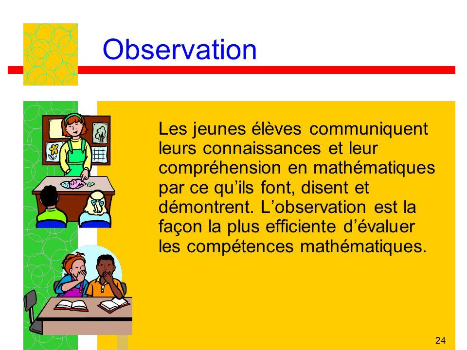 24 Observation Les jeunes élèves communiquent leurs connaissances et leur compréhension en mathématiques par ce quils font, disent et démontrent. Lobs