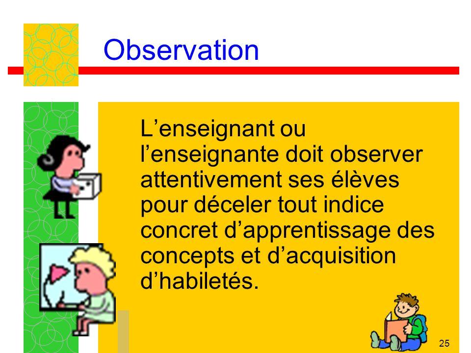 25 Observation Lenseignant ou lenseignante doit observer attentivement ses élèves pour déceler tout indice concret dapprentissage des concepts et dacq