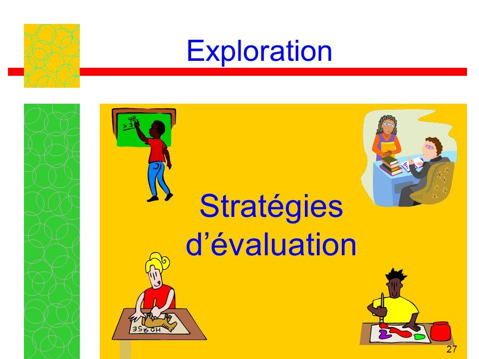 27 Exploration Stratégies dévaluation