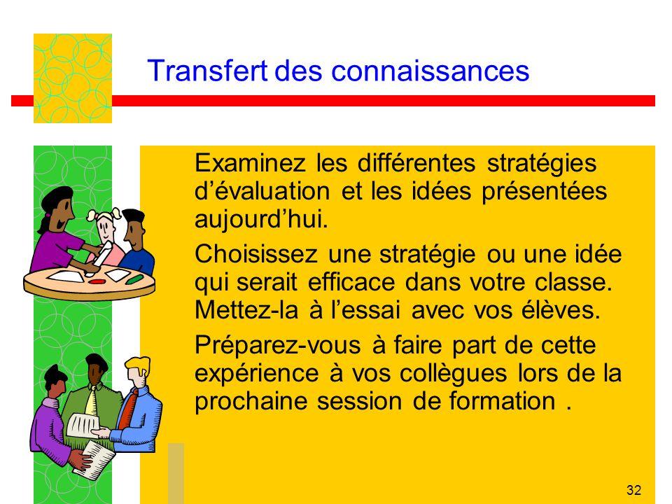 32 Transfert des connaissances Examinez les différentes stratégies dévaluation et les idées présentées aujourdhui. Choisissez une stratégie ou une idé