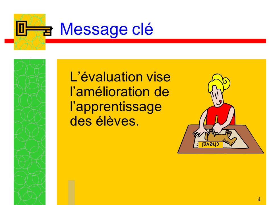 4 Message clé Lévaluation vise lamélioration de lapprentissage des élèves. cheval