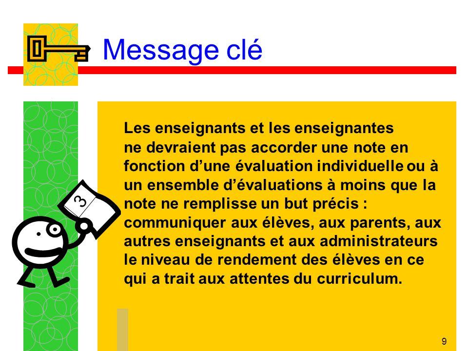 9 Message clé Les enseignants et les enseignantes ne devraient pas accorder une note en fonction dune évaluation individuelle ou à un ensemble dévalua