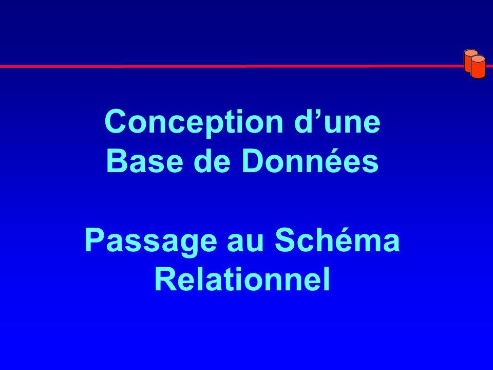 Conception dune Base de Données Passage au Schéma Relationnel