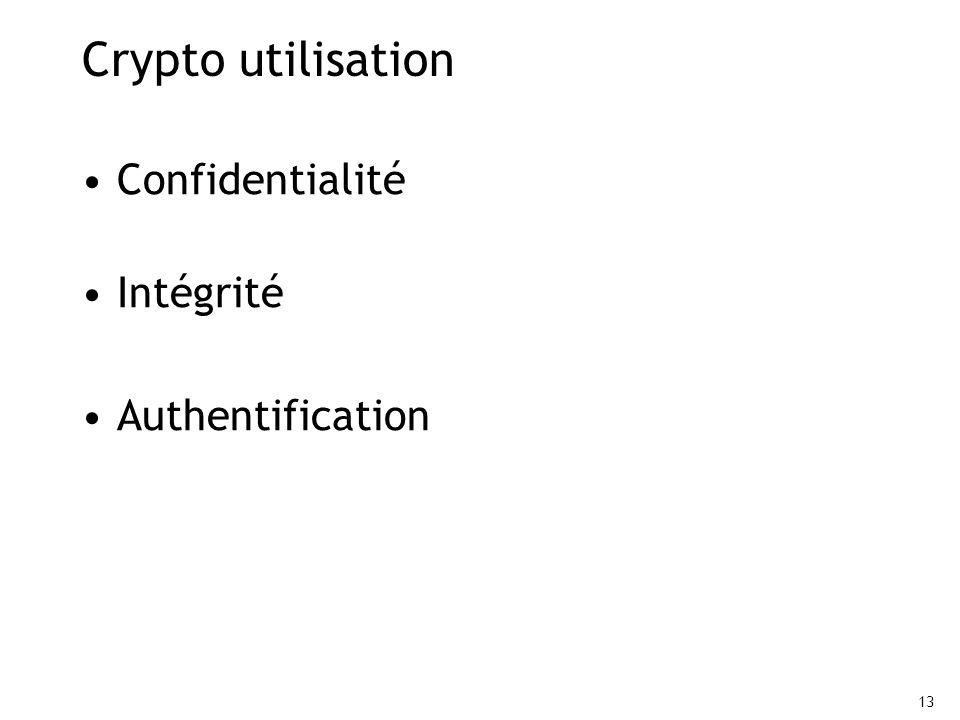 13 Crypto utilisation Confidentialité Intégrité Authentification