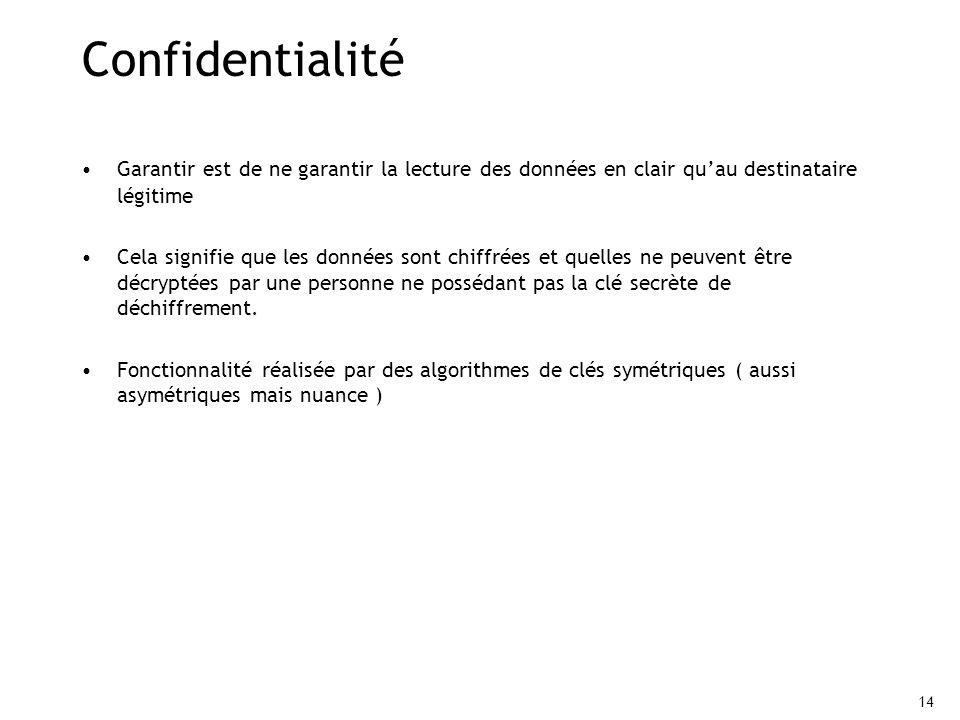 14 Confidentialité Garantir est de ne garantir la lecture des données en clair quau destinataire légitime Cela signifie que les données sont chiffrées et quelles ne peuvent être décryptées par une personne ne possédant pas la clé secrète de déchiffrement.