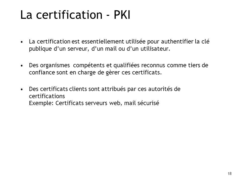 18 La certification - PKI La certification est essentiellement utilisée pour authentifier la clé publique dun serveur, dun mail ou dun utilisateur. De