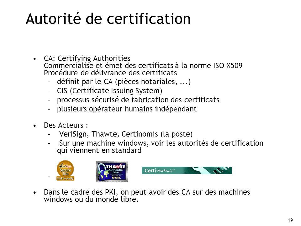 19 Autorité de certification CA: Certifying Authorities Commercialise et émet des certificats à la norme ISO X509 Procédure de délivrance des certificats –définit par le CA (pièces notariales,...) –CIS (Certificate Issuing System) –processus sécurisé de fabrication des certificats –plusieurs opérateur humains indépendant Des Acteurs : – VeriSign, Thawte, Certinomis (la poste) – Sur une machine windows, voir les autorités de certification qui viennent en standard Dans le cadre des PKI, on peut avoir des CA sur des machines windows ou du monde libre.