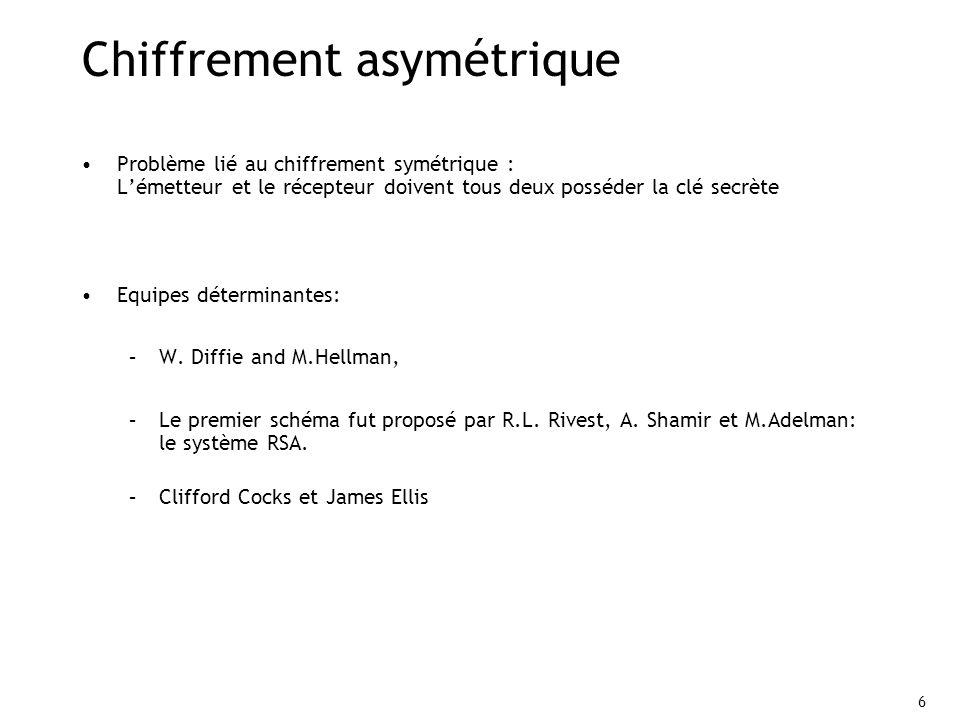 6 Chiffrement asymétrique Problème lié au chiffrement symétrique : Lémetteur et le récepteur doivent tous deux posséder la clé secrète Equipes déterminantes: –W.