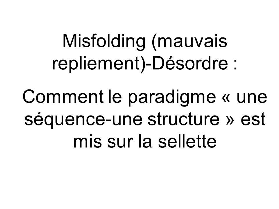 Misfolding (mauvais repliement)-Désordre : Comment le paradigme « une séquence-une structure » est mis sur la sellette