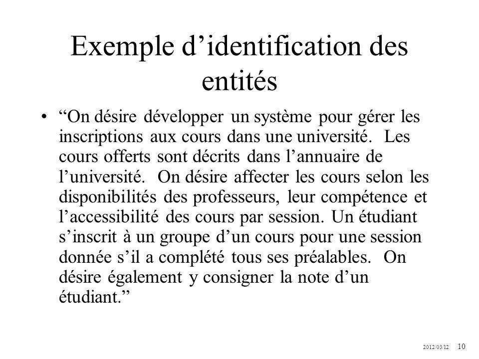 2012/03/12 10 Exemple didentification des entités On désire développer un système pour gérer les inscriptions aux cours dans une université. Les cours