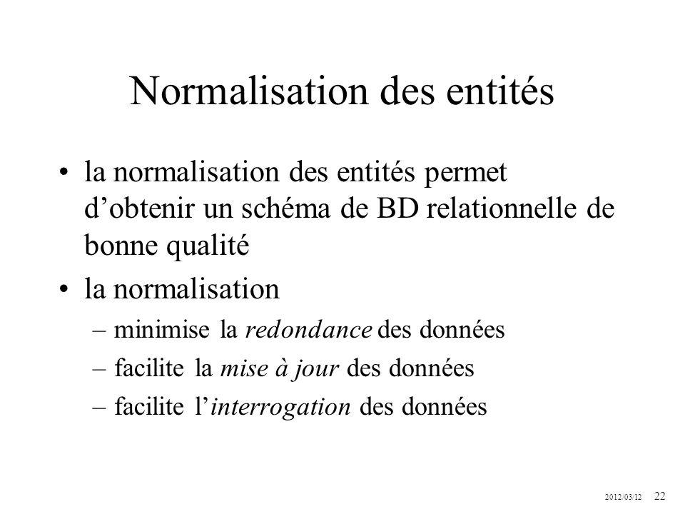 2012/03/12 22 Normalisation des entités la normalisation des entités permet dobtenir un schéma de BD relationnelle de bonne qualité la normalisation –