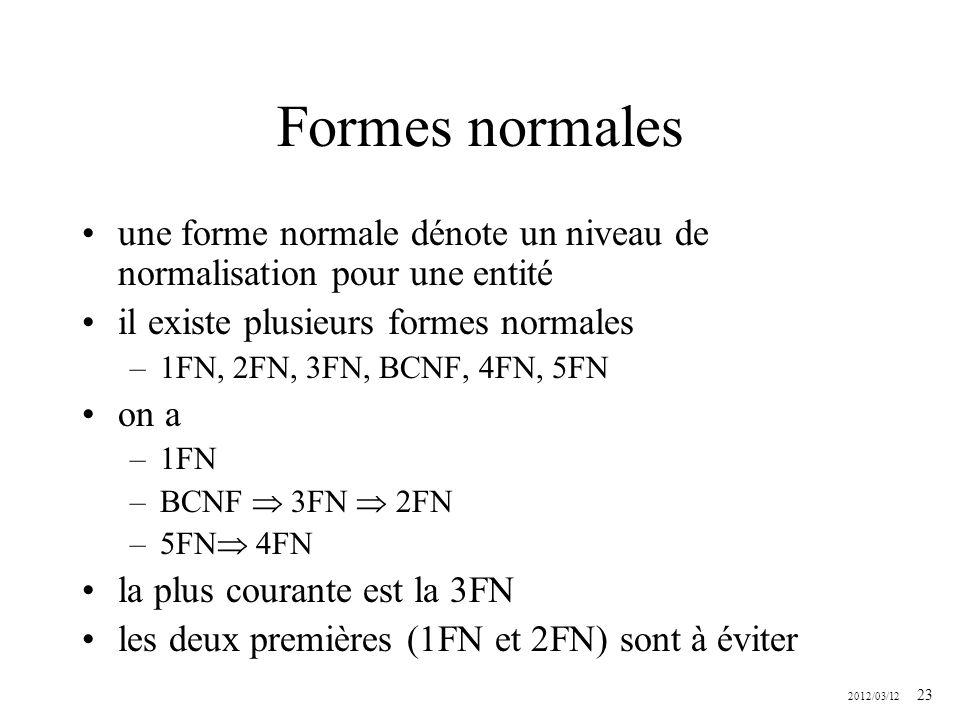 2012/03/12 23 Formes normales une forme normale dénote un niveau de normalisation pour une entité il existe plusieurs formes normales –1FN, 2FN, 3FN,