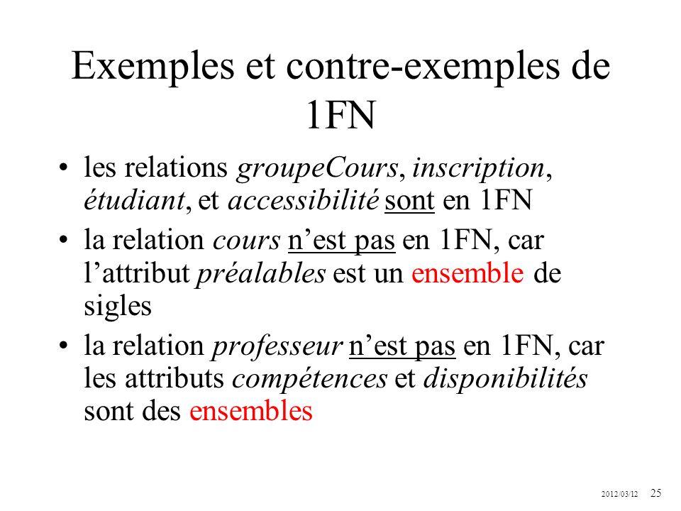 2012/03/12 25 Exemples et contre-exemples de 1FN les relations groupeCours, inscription, étudiant, et accessibilité sont en 1FN la relation cours nest
