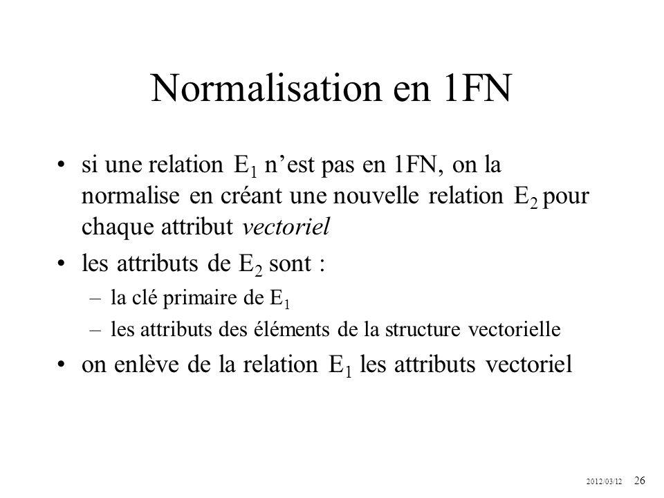 2012/03/12 26 Normalisation en 1FN si une relation E 1 nest pas en 1FN, on la normalise en créant une nouvelle relation E 2 pour chaque attribut vecto