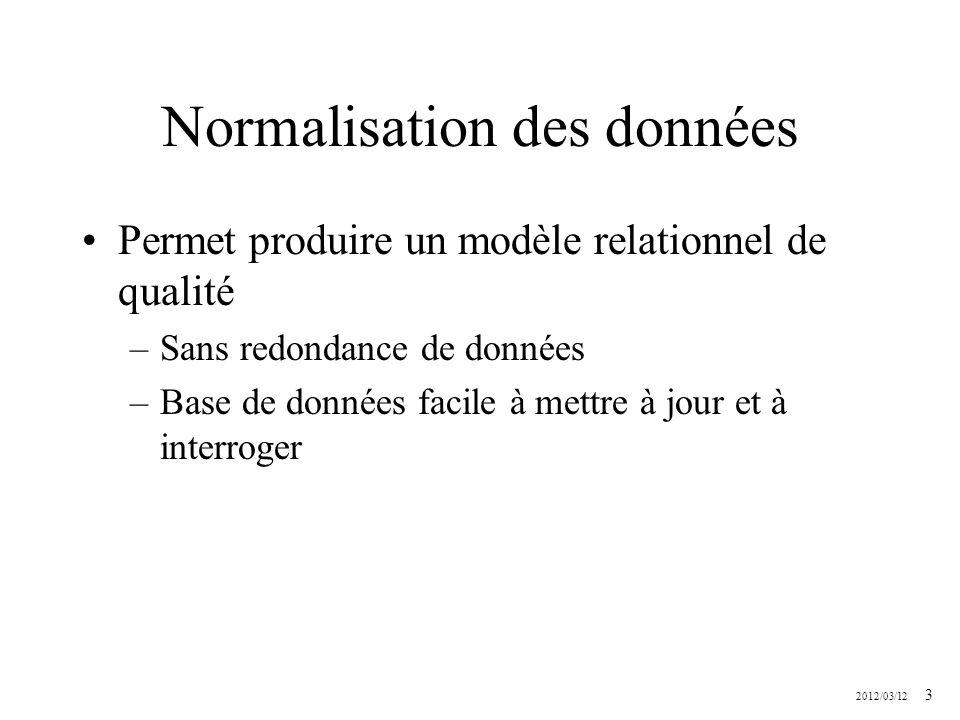 2012/03/12 44 Normalisation en 2FN les attributs non premiers en dépendance partielle sont extraits –pour former une nouvelle relation ou bien –sont ajoutés à une relation ayant une clé primaire appropriée