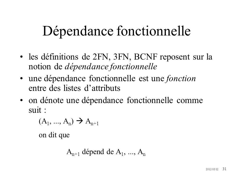 2012/03/12 31 Dépendance fonctionnelle les définitions de 2FN, 3FN, BCNF reposent sur la notion de dépendance fonctionnelle une dépendance fonctionnel