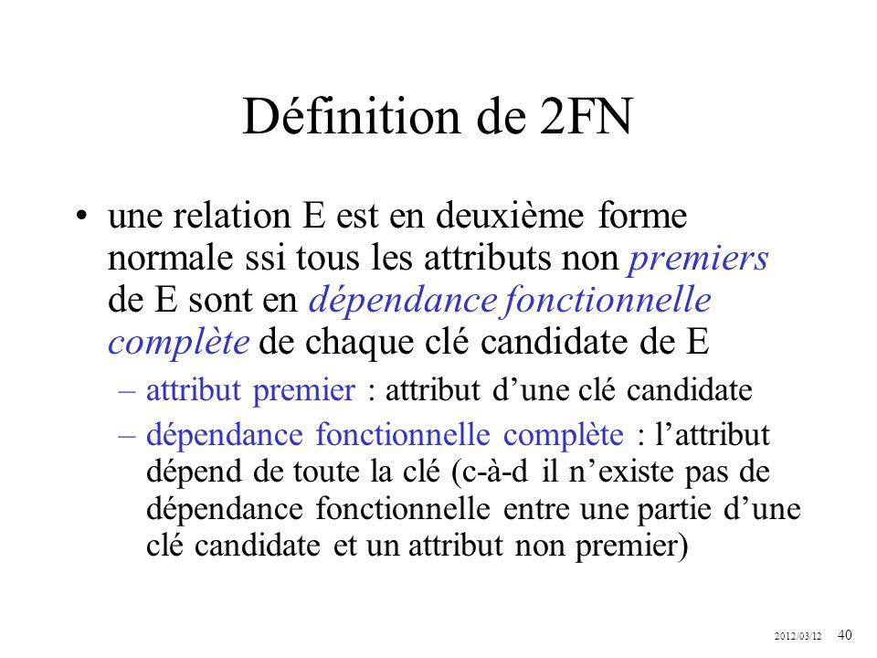 2012/03/12 40 Définition de 2FN une relation E est en deuxième forme normale ssi tous les attributs non premiers de E sont en dépendance fonctionnelle
