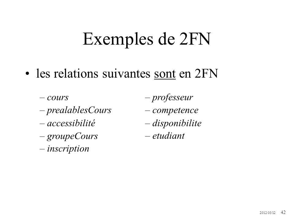 2012/03/12 42 Exemples de 2FN les relations suivantes sont en 2FN – cours – prealablesCours – accessibilité – groupeCours – inscription – professeur –