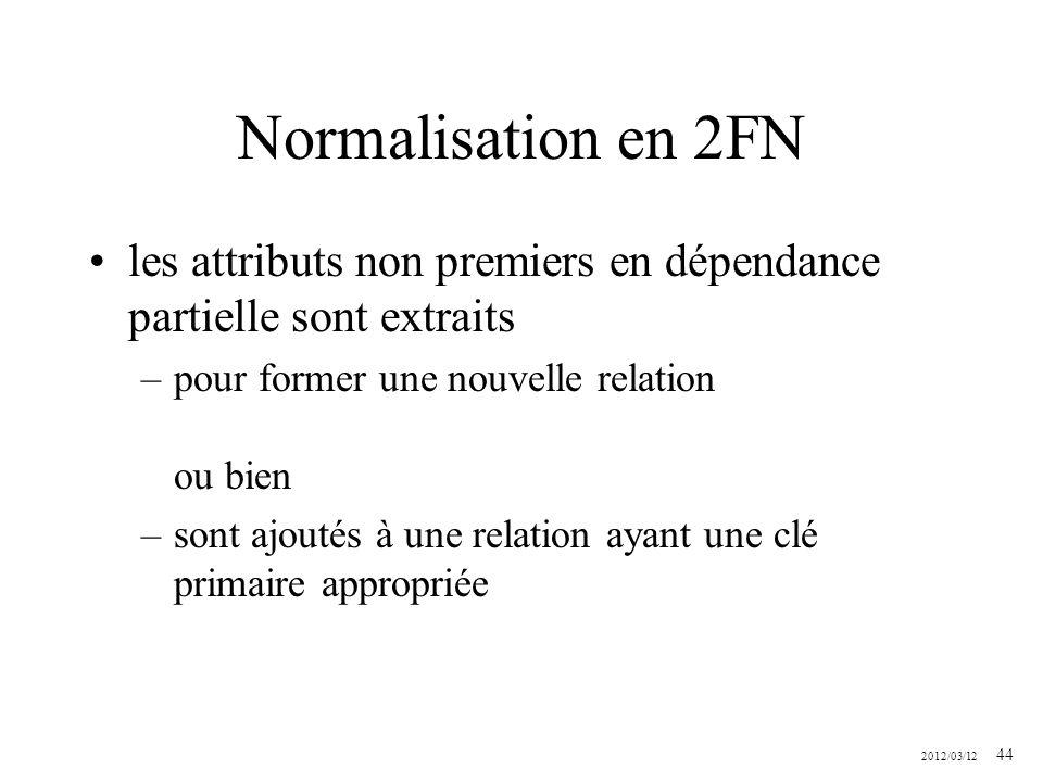2012/03/12 44 Normalisation en 2FN les attributs non premiers en dépendance partielle sont extraits –pour former une nouvelle relation ou bien –sont a
