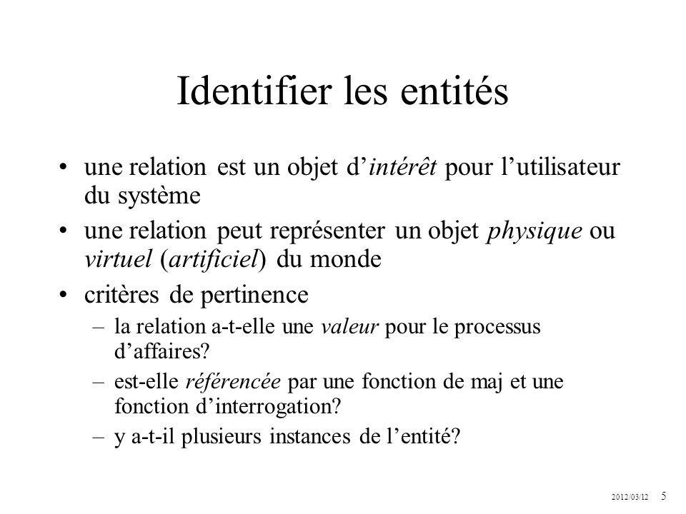 2012/03/12 5 Identifier les entités une relation est un objet dintérêt pour lutilisateur du système une relation peut représenter un objet physique ou