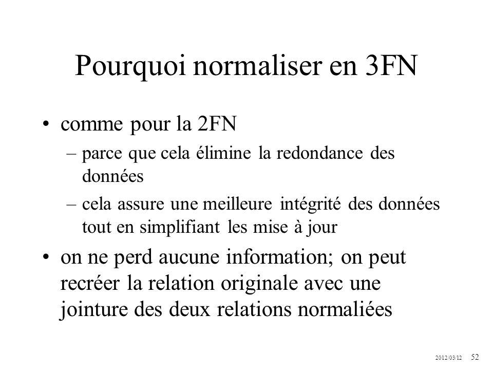 2012/03/12 52 Pourquoi normaliser en 3FN comme pour la 2FN –parce que cela élimine la redondance des données –cela assure une meilleure intégrité des