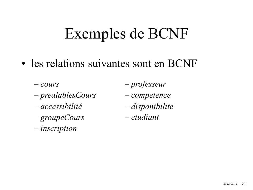 2012/03/12 54 Exemples de BCNF les relations suivantes sont en BCNF – cours – prealablesCours – accessibilité – groupeCours – inscription – professeur